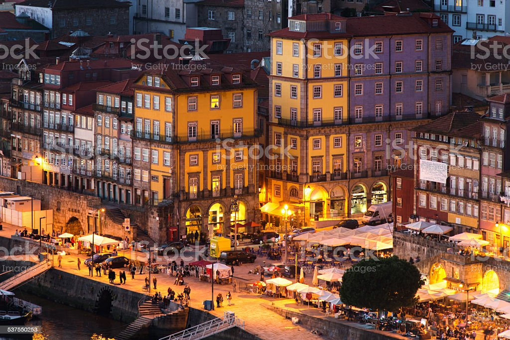 Panorama old city Porto at sunset, Oporto, Portugal stock photo