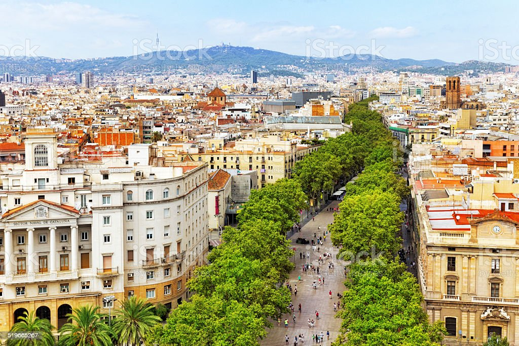 Panorama on Barcelona city from Columbus monument. stock photo