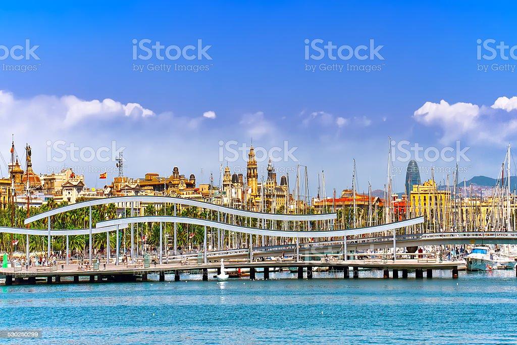 Panorama on Barcelona Seaport stock photo