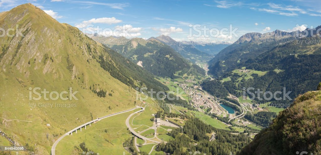 Panorama on the valley Leventina and the surrounding mountains from the road to the Gotthard Pass, Switzerland stock photo