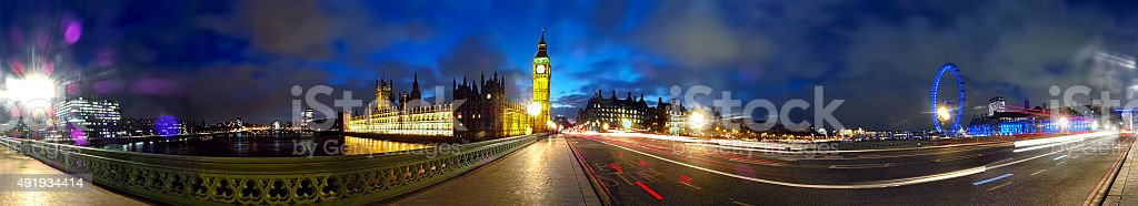 Panorama on Westminster Bridge at Night stock photo