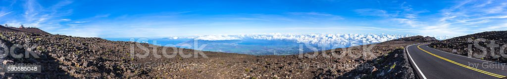 Panorama over Haleakala National Park stock photo