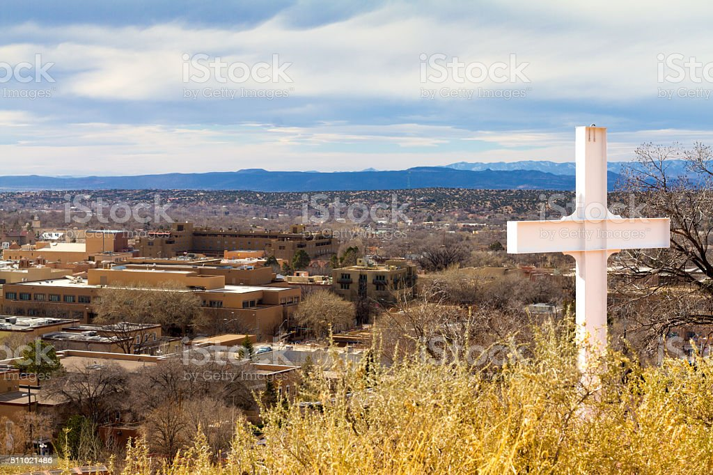 Panorama over Santa Fe, NM from Cross of the Martyrs stock photo