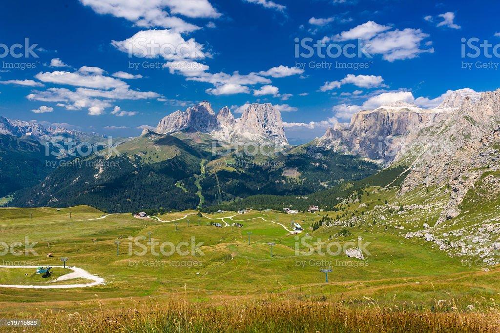 panorama over the Langkofel Group stock photo