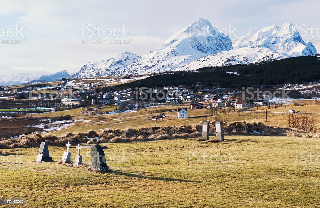 Panorama over the village of Borg, Lofoten islands, Norway stock photo
