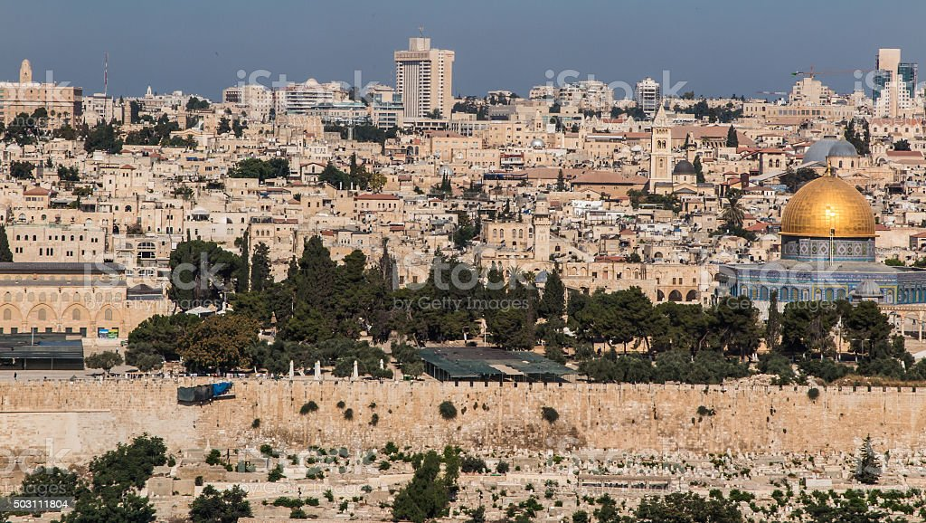 Panorama overlooking the Old City of Jerusalem, Israel, includin stock photo