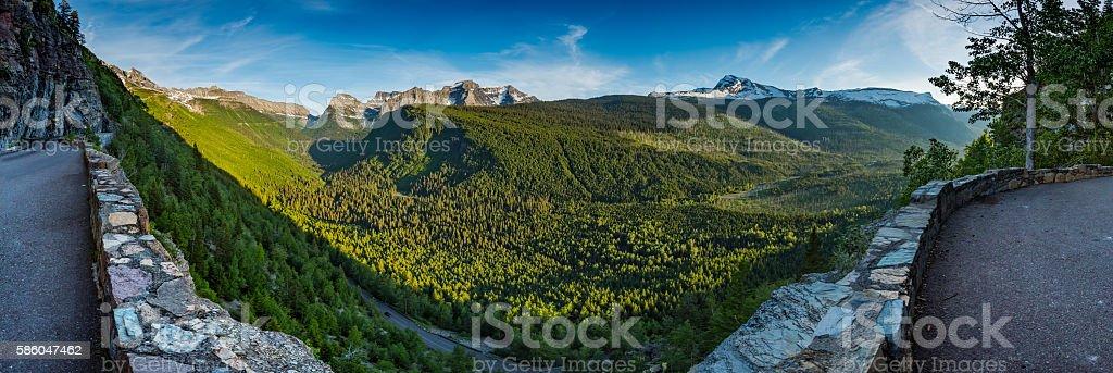 Panorama Overlooking Valley Below Logan Pass stock photo