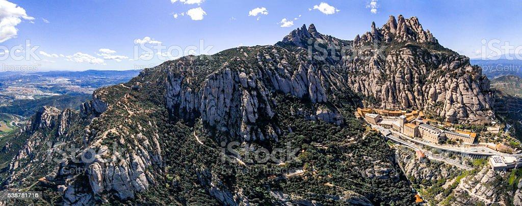 panorama panoramic montaña montserrat mountain muntanya sactuary air catalunya stock photo