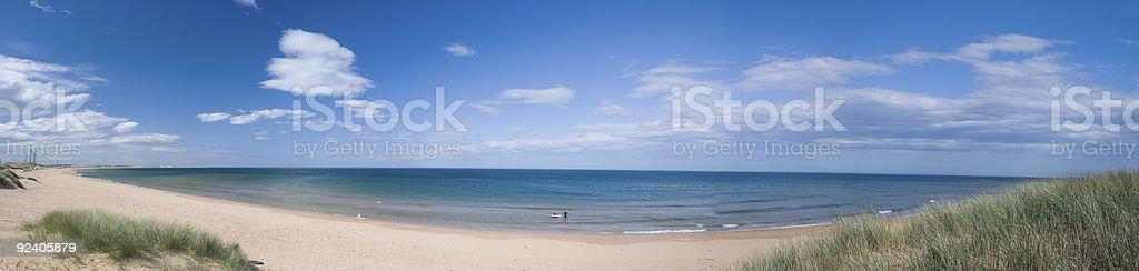 Panorama: Peterhead Beach, Scotland royalty-free stock photo