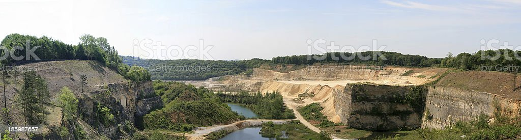 Panorama photo of a quarry stock photo