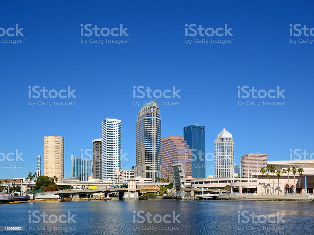 Panorama photo of Tampa, view from the water stock photo