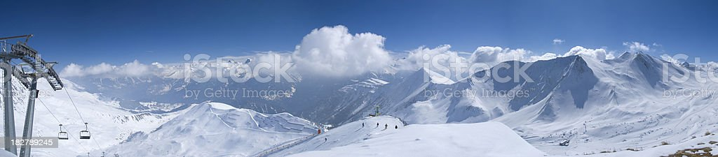 panorama photo on top of the Austrian Alps stock photo