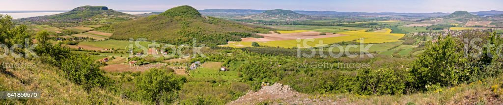 Panorama picture from the volcanoes in Hungary stock photo