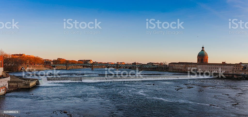 Panorama picture of Garonne river in Toulouse – Southern France stock photo