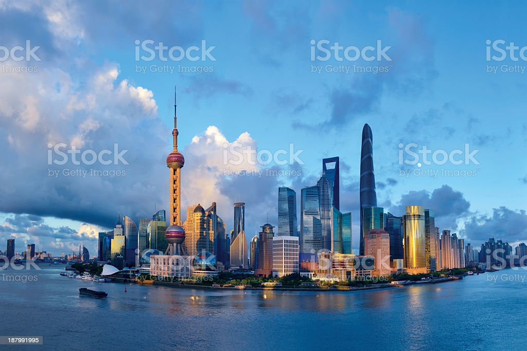 Panorama picture of Shanghai with blue sky stock photo