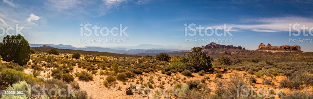 Panorama Point Arches National Park stock photo