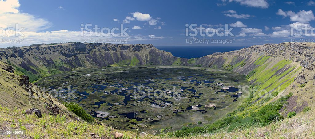 Panorama Rano Kau Krater at Easter Island (Rapa Nui) stock photo