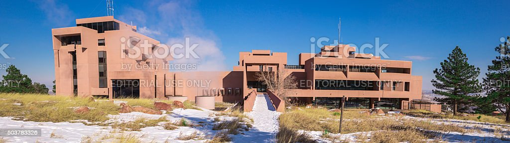 NCAR panorama, rear elevation stock photo