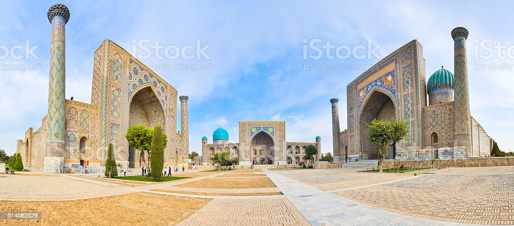 Panorama Registan Square with three madrasahs in Samarkand stock photo