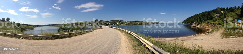 Panorama river in village stock photo