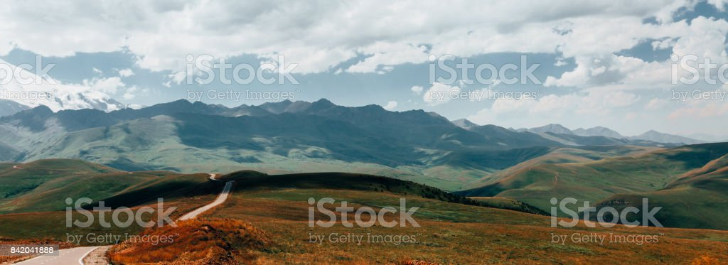 Panorama Road Leading To Mount Elbrus In Summer. North Caucasus, Russia stock photo