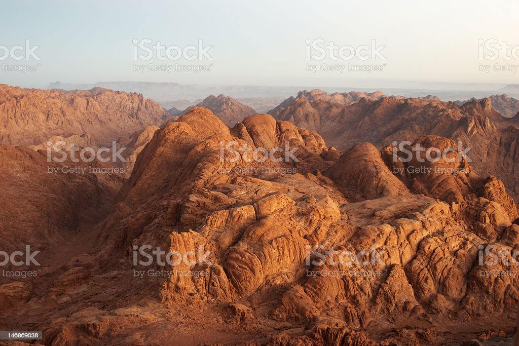 Panorama rocks in early morning stock photo