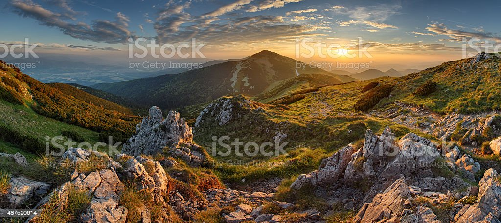Panorama rocky mountain at sunset in Slovakia stock photo
