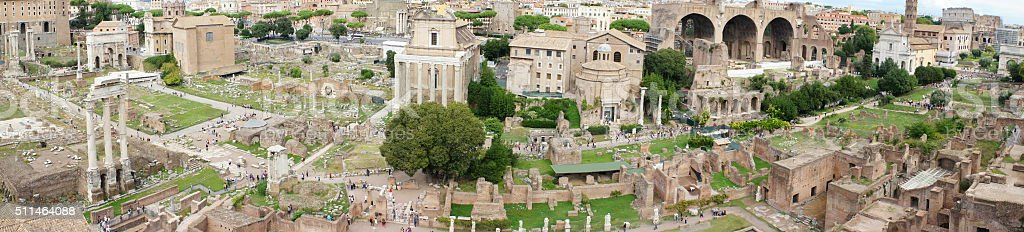 Panorama Roman Forum in Rome stock photo