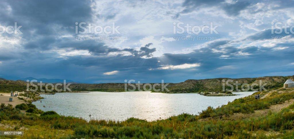 Panorama Salt Lake, Kyrgyzstan. royalty-free stock photo