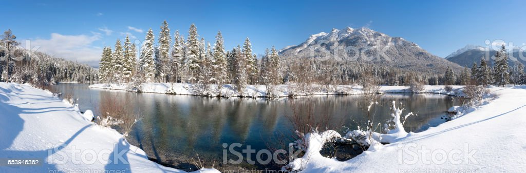 panorama scene at winter in Bavaria with ice and snow stock photo