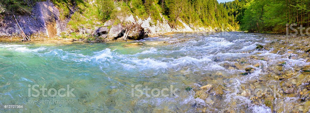 panorama scene in Bavaria with river in canyon stock photo
