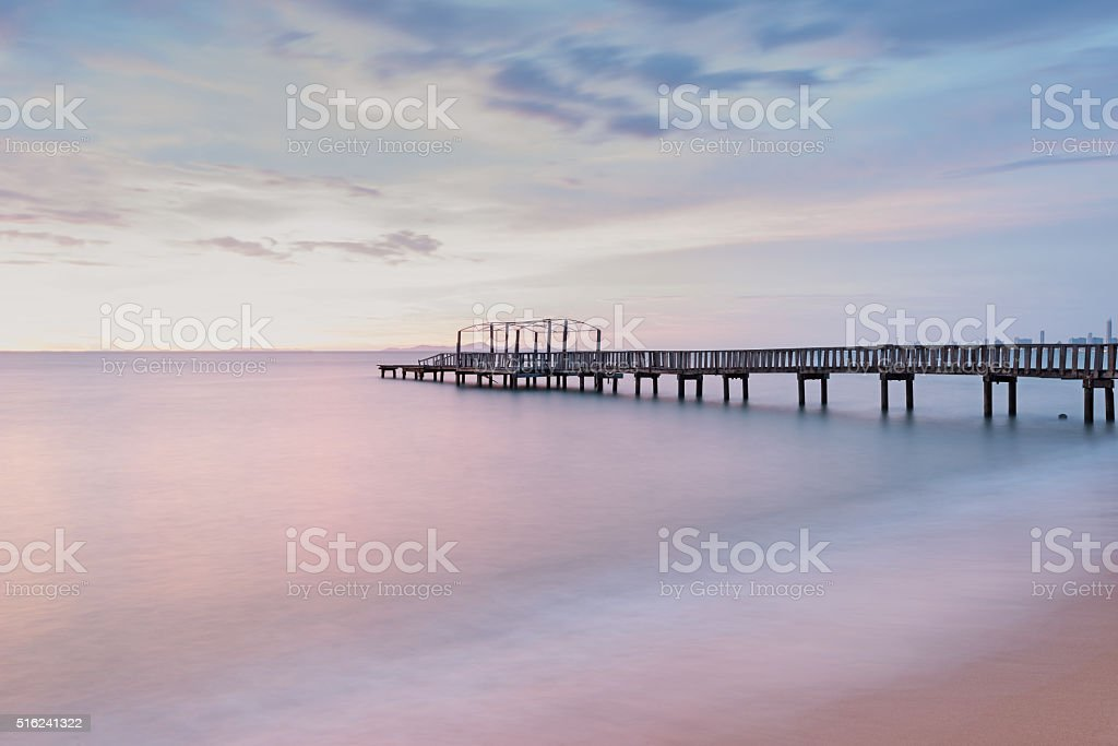 Panorama scene of  wooden bridge . stock photo