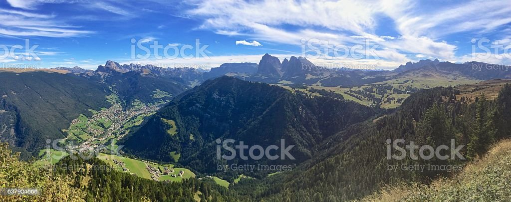 Panorama Seiser Alm and Val Gardena stock photo