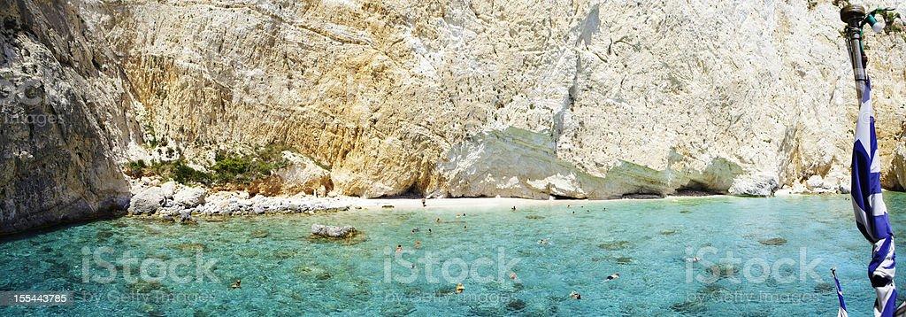 Panorama: Small, remote, Greek beach at Zakynthos stock photo