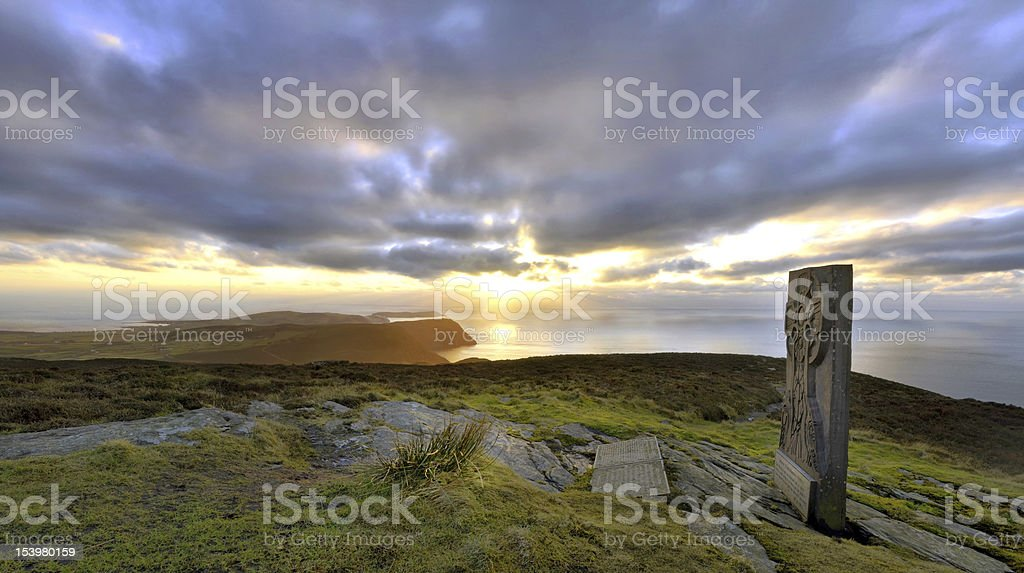 Panorama - South Isle of Man with Celtic Cross stock photo
