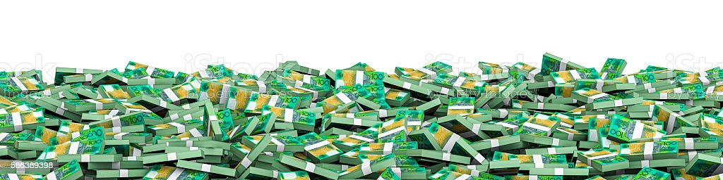 Panorama stacks Australian dollars stock photo
