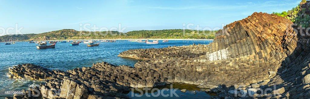 Panorama sunny early on Ganh Da Dia stock photo