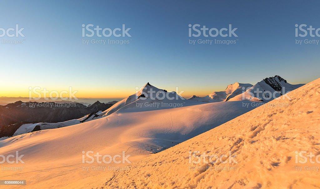 XXL panorama - sunrise near summit of Alphubel, Switzerland stock photo