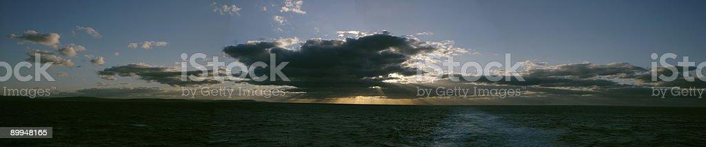 Panorama sunset sea scenary royalty-free stock photo