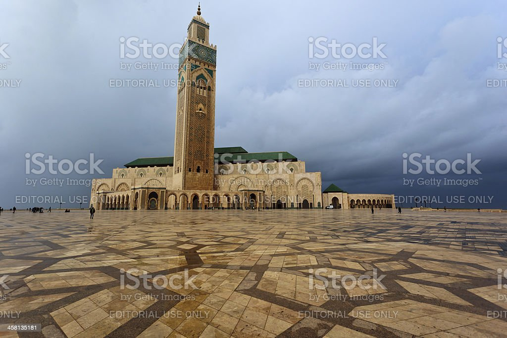 Panorama the front of Hassan II Mosque in Casablanca, Morocco royalty-free stock photo