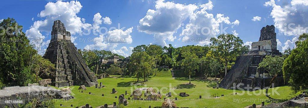 Panorama Tikal  Ruins and pyramids stock photo