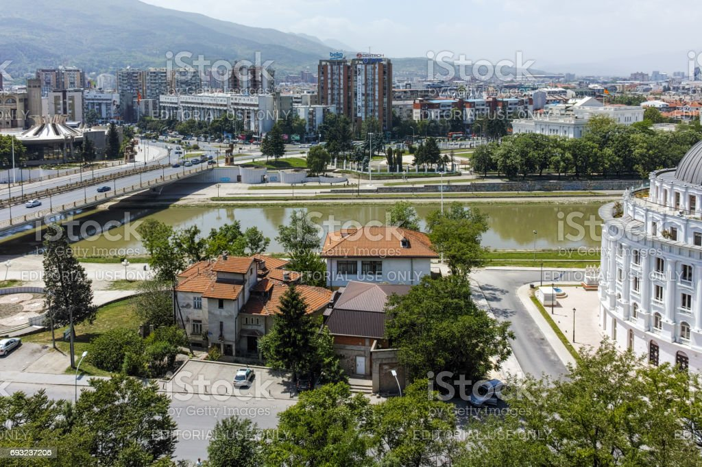 Panorama to city of Skopje from fortress (Kale fortress) in the Old Town, Republic of Macedonia stock photo