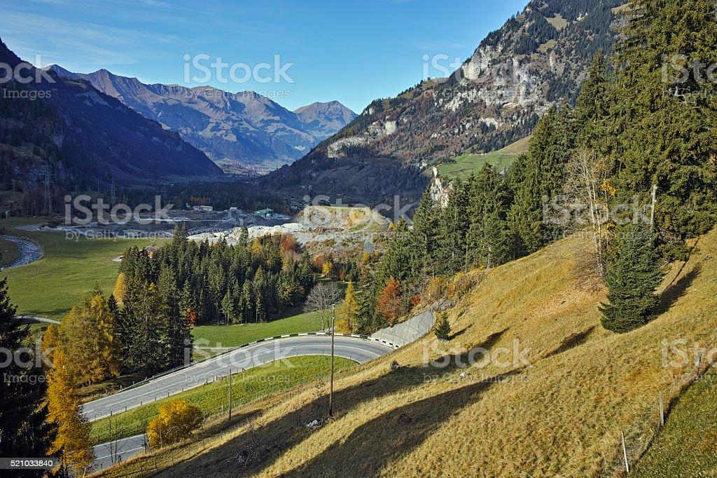 Panorama to road in Swiss Alps near Bluemlisalp peak, Switzerland stock photo