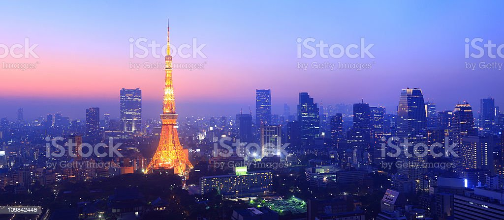 panorama tokyos skyline at twilight stock photo