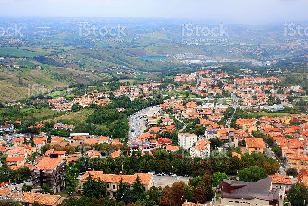 Panorama top view, San Marino, Italy stock photo