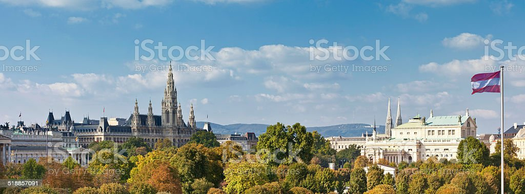 Panorama - Town Hall, Imperial Court Theater, Austrian Parliament Building stock photo