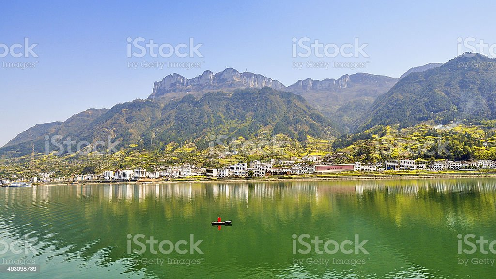 Panorama, Town of Sandouping - Yichang, China stock photo