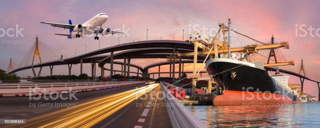 Panorama transport and logistic concept stock photo
