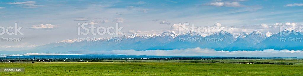 Panorama Tunka range near Kyren village stock photo
