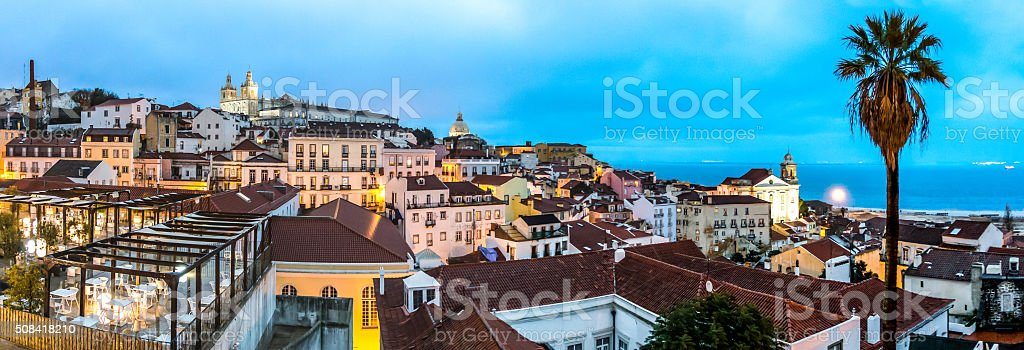 panorama view alfama lisboa lisbon portugal capital clouds rain stock photo